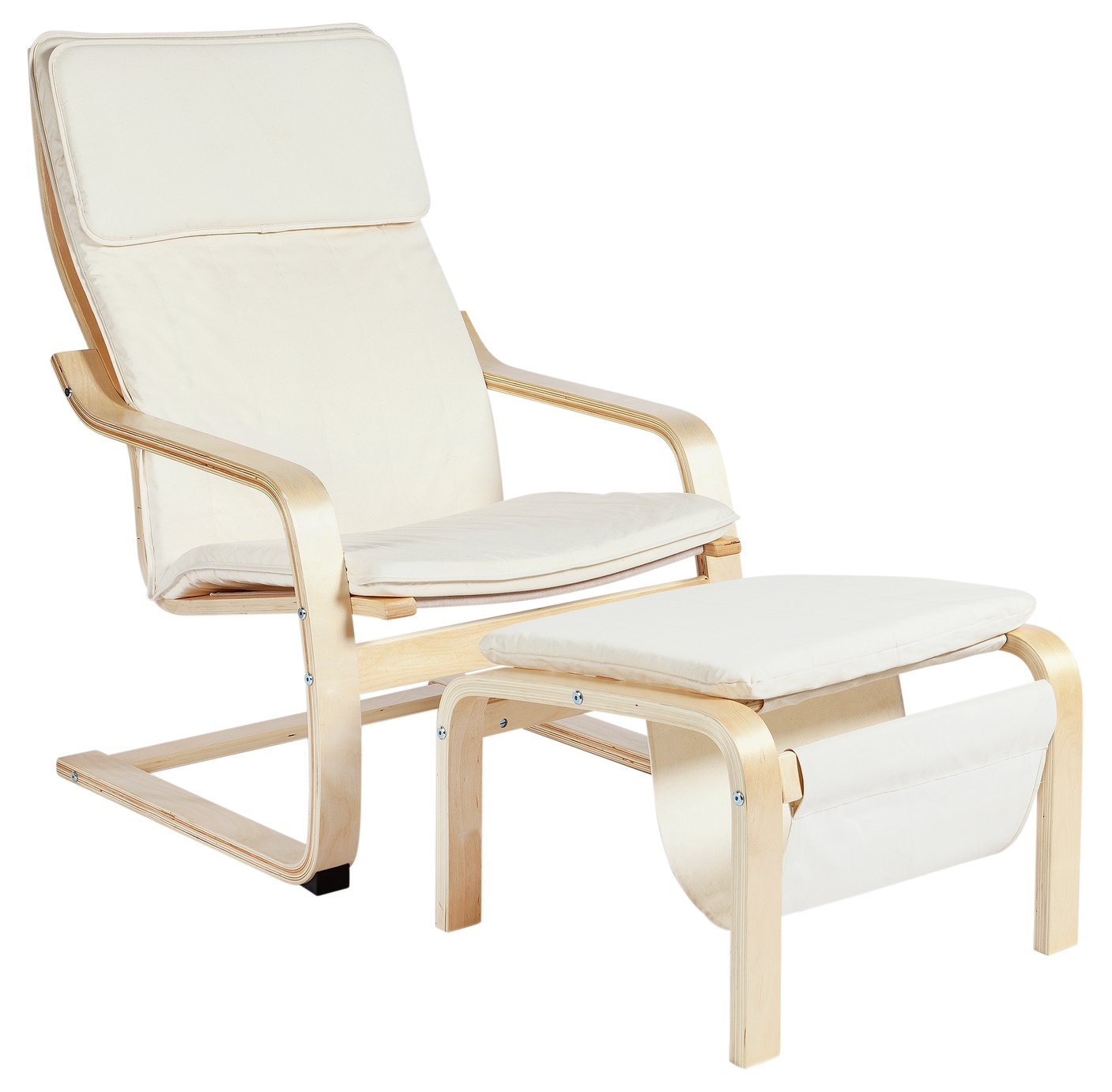 Argos Home Bentwood High Back Chair & Footstool - Natural