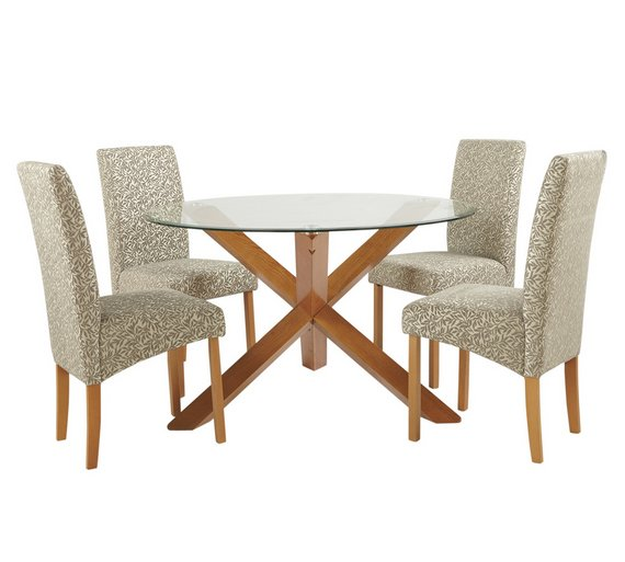 Buy Heart of House Oakington Round Glass Table & 4 Chairs ...