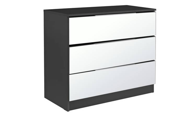 Argos Home Sandon 3 Drawer Chest - Black and Mirrored
