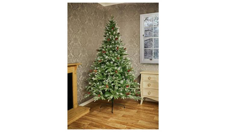 Buy Premier Decorations 7ft Berry & Cone Christmas Tree - Green | Christmas trees | Argos