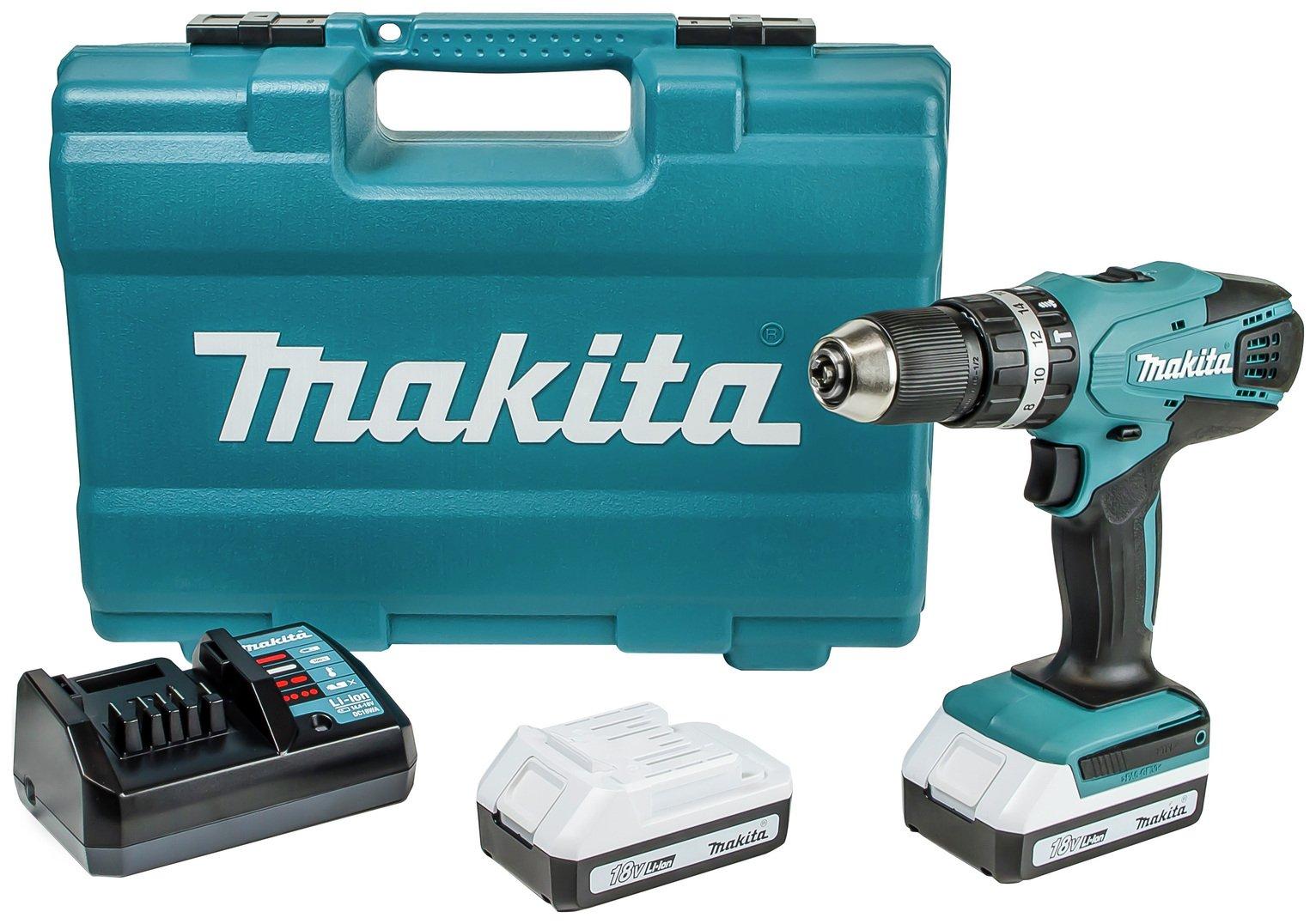 Makita G-Series Cordless Combi Drill 74Pc Set - 18V
