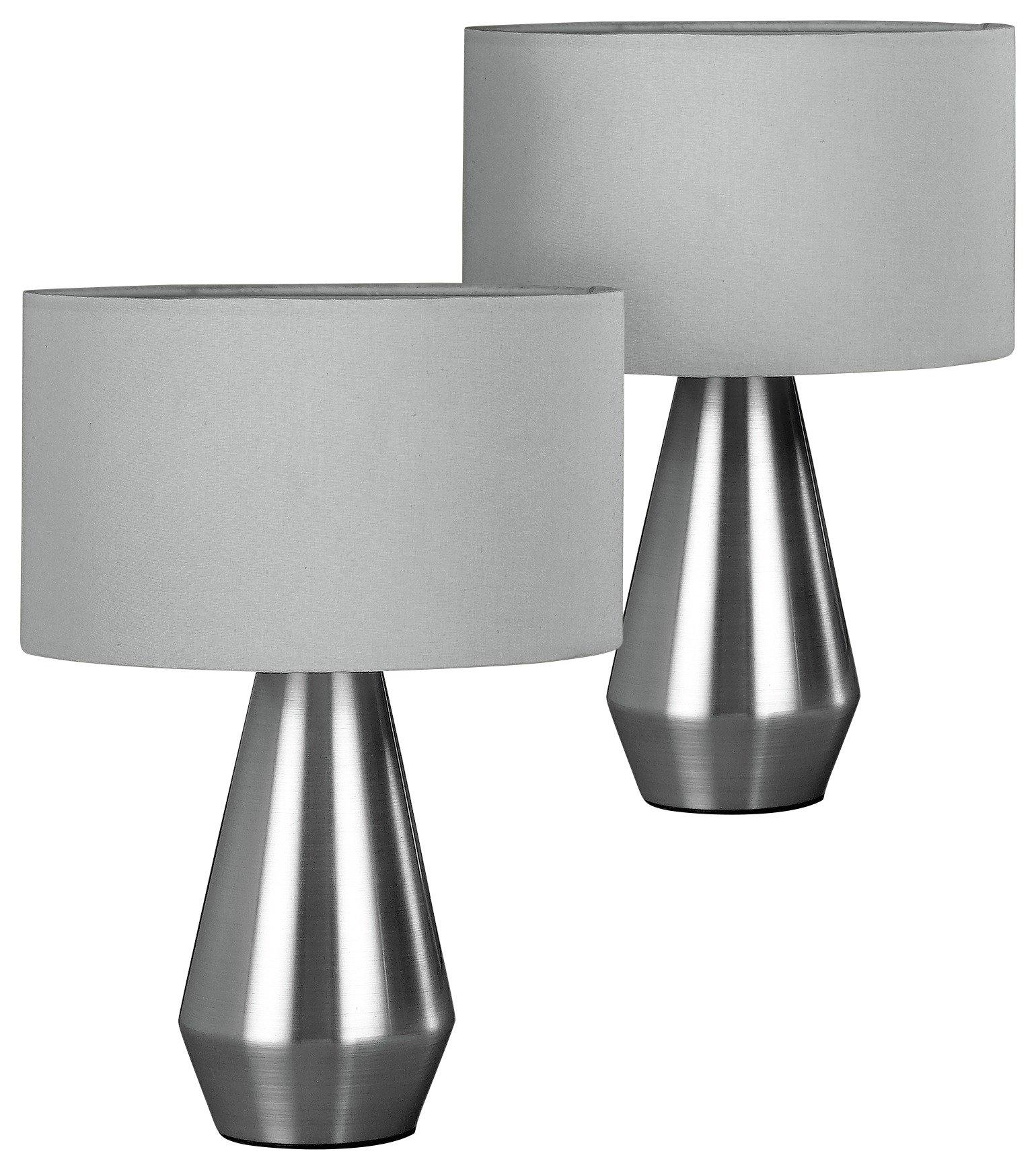 buy habitat pair of maya table touch lamps - grey | table lamps | argos