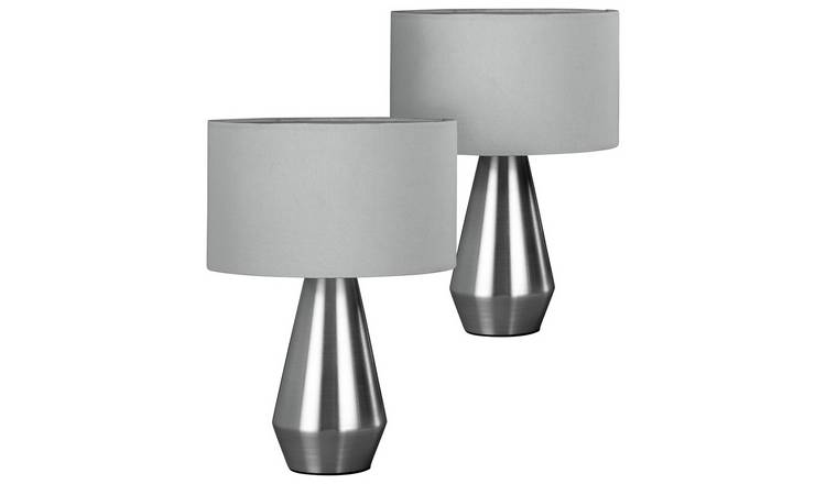 Habitat Maya Pair of Touch Table Lamps - Grey