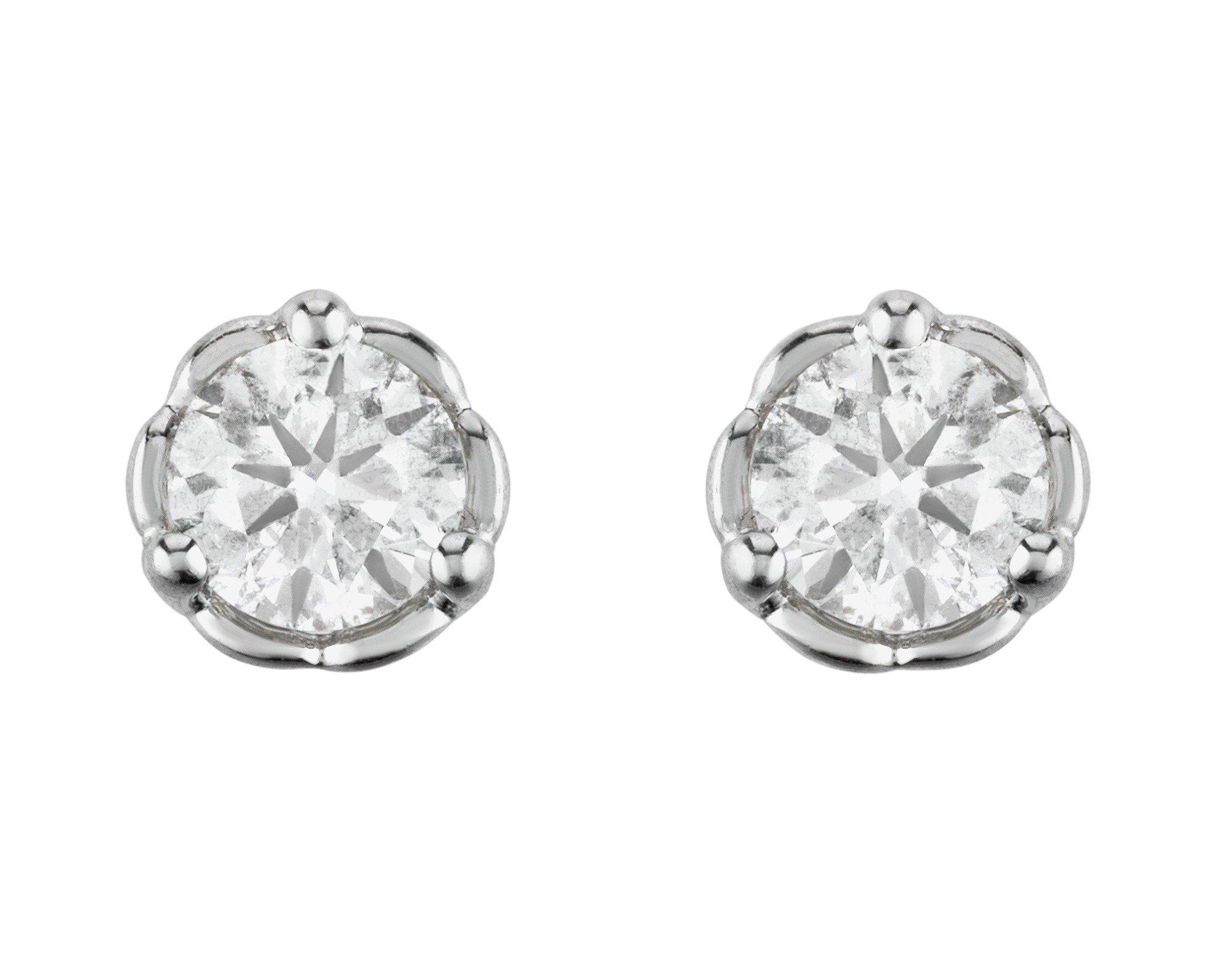 Image of Enchanted - 9 Carat White Gold - 0.50 Carat two Diamond Earrings.