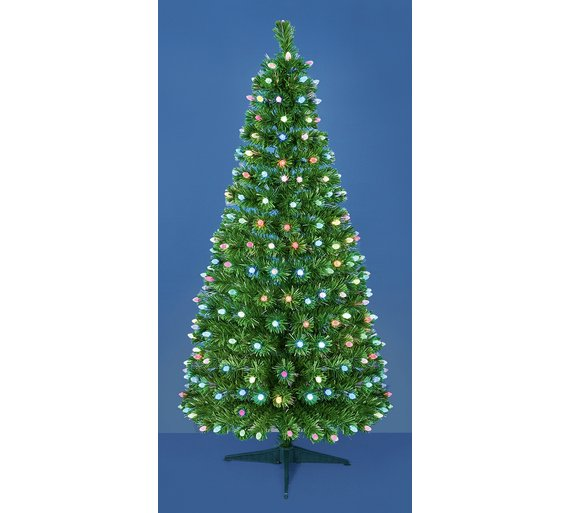 Buy 4ft Fibre Optic LED Pinecone Christmas Tree Multicoloured At  - Fibre Optic Christmas Tree Uk Only