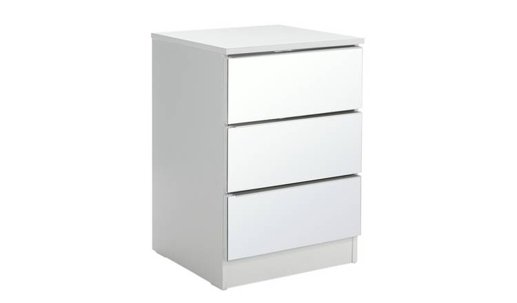 Argos Home Sandon 3 Drawer Bedside Table - White & Mirrored