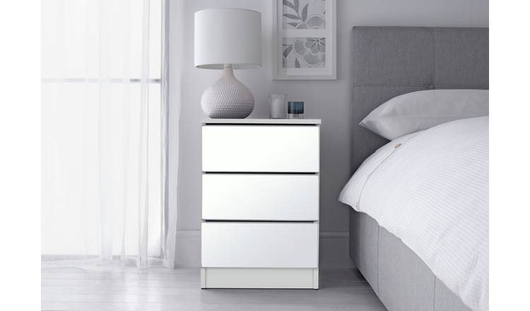 Buy Argos Home Sandon 3 Drawer Bedside Table White Mirrored Tables