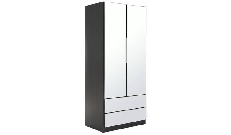 aafabc2ecec Buy Argos Home Sandon 2 Door 2 Drawer Mirrored Wardrobe - Black ...