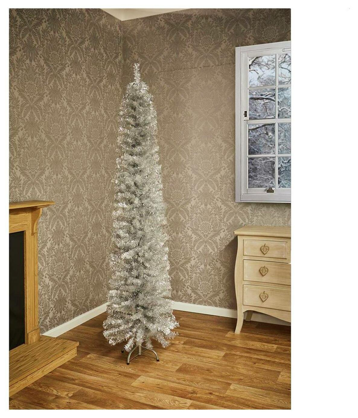 Image of 6.4ft Pencil Pine Christmas Tree - Silver