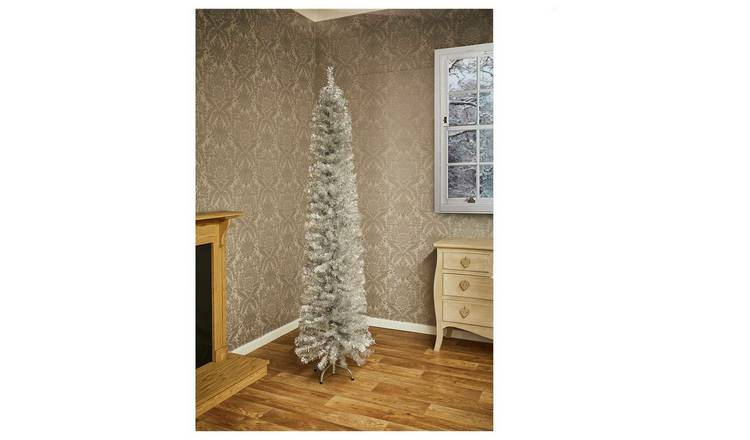 Pencil Christmas Tree.Buy Premier Decorations 6ft Pencil Pine Christmas Tree Silver Artificial Christmas Trees Argos