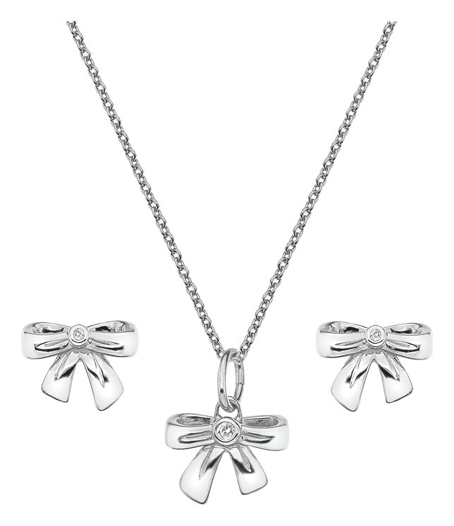 Image of Accents By Hot Diamonds Silver Bow Pendant & Earring Set.