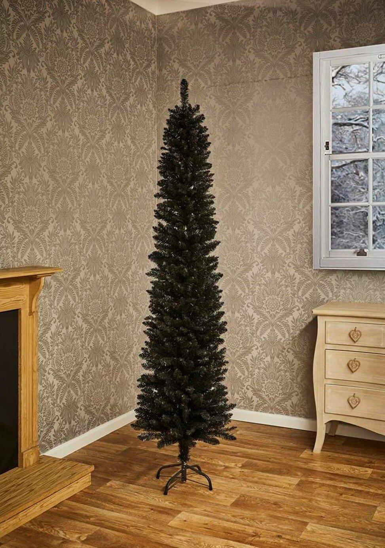 Image of 6.4ft Pencil Pine Christmas Tree - Black