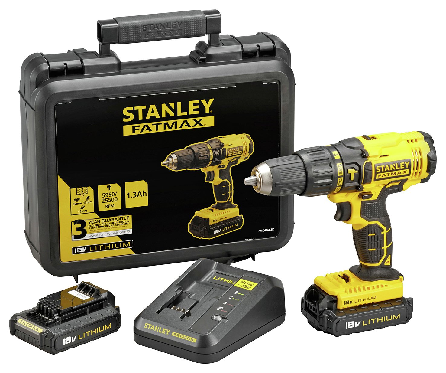 Stanley FatMax Cordless Hammer Drill with 2 18V Batteries (5744952