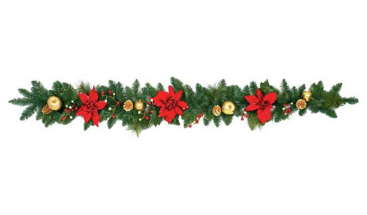 Christmas Garlands.Buy Poinsetta Garland Red And Gold Christmas Wreaths And Garlands Argos