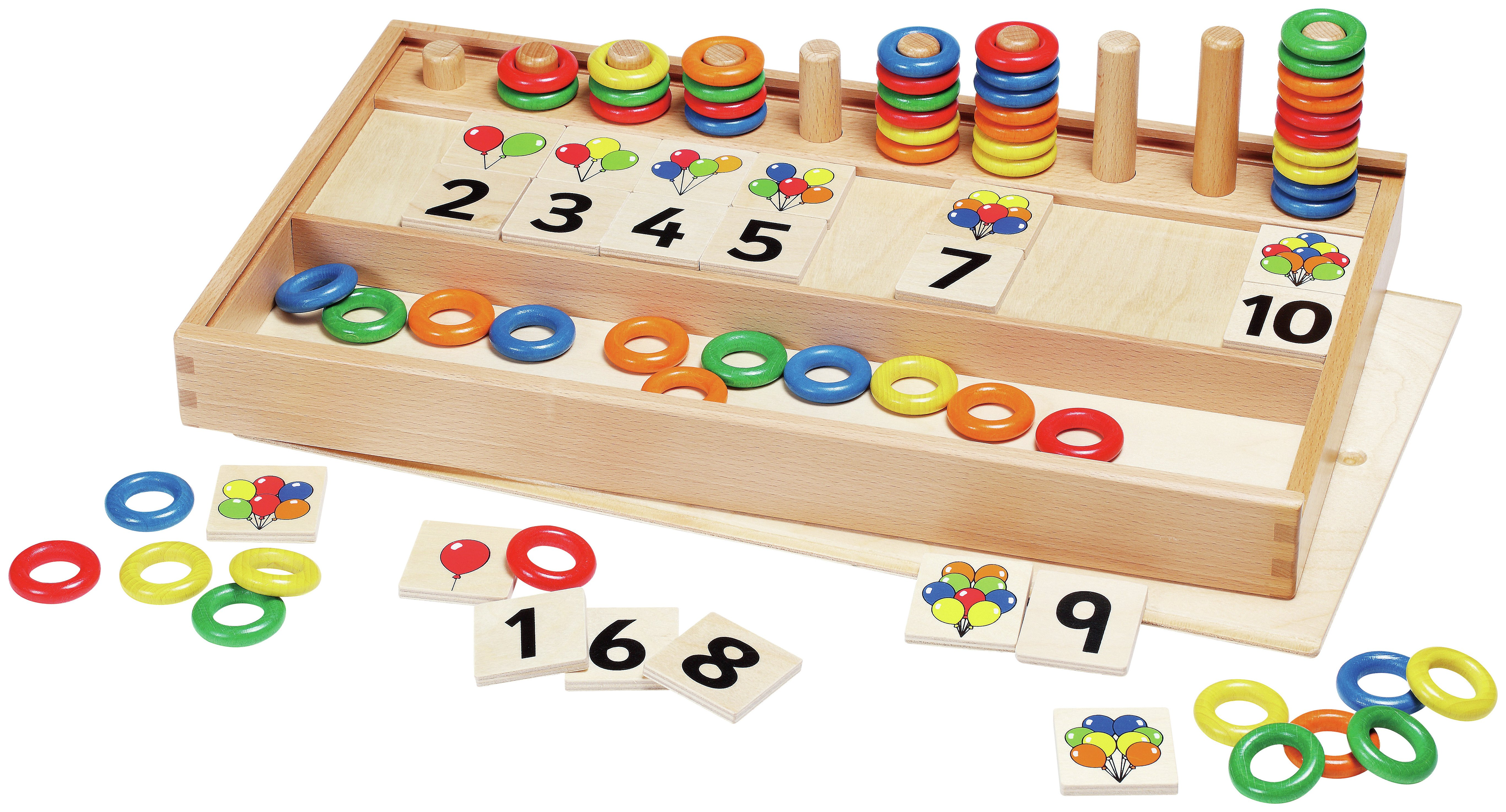 Image of GoGo Toys Wooden Balloons and Rings Game.