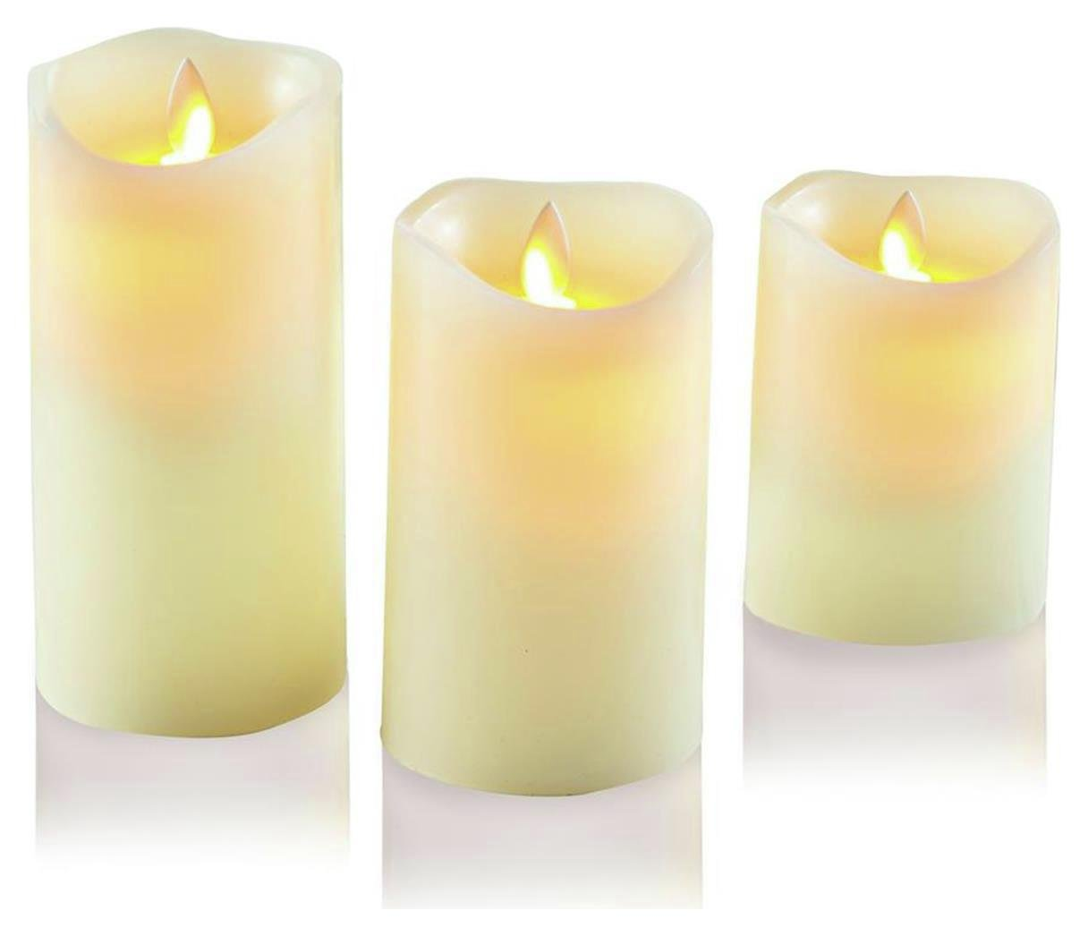 Set of 3 Dancing Flame Candles - Cream