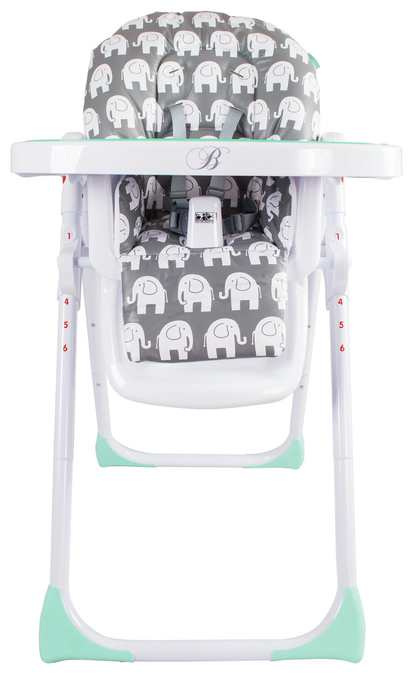 Image of My Babiie Billie Faiers MBHC8GE Grey Elephant Highchair.
