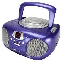 Groov-e GVPS713/PE Boombox CD Player with Radio - Purple.