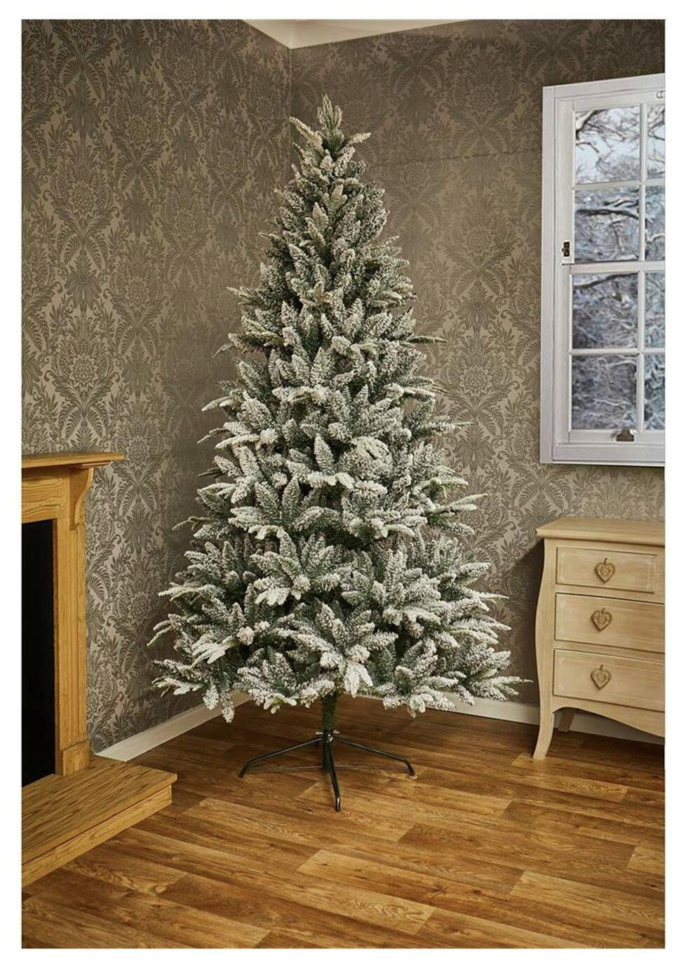 6.9ft Flocked Lapland Spruce Christmas Tree