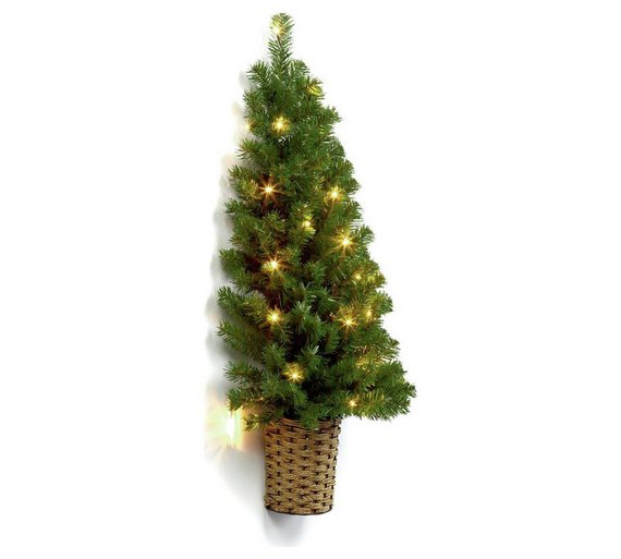 3ft pre lit half wall christmas tree in basket green - Half Christmas Tree