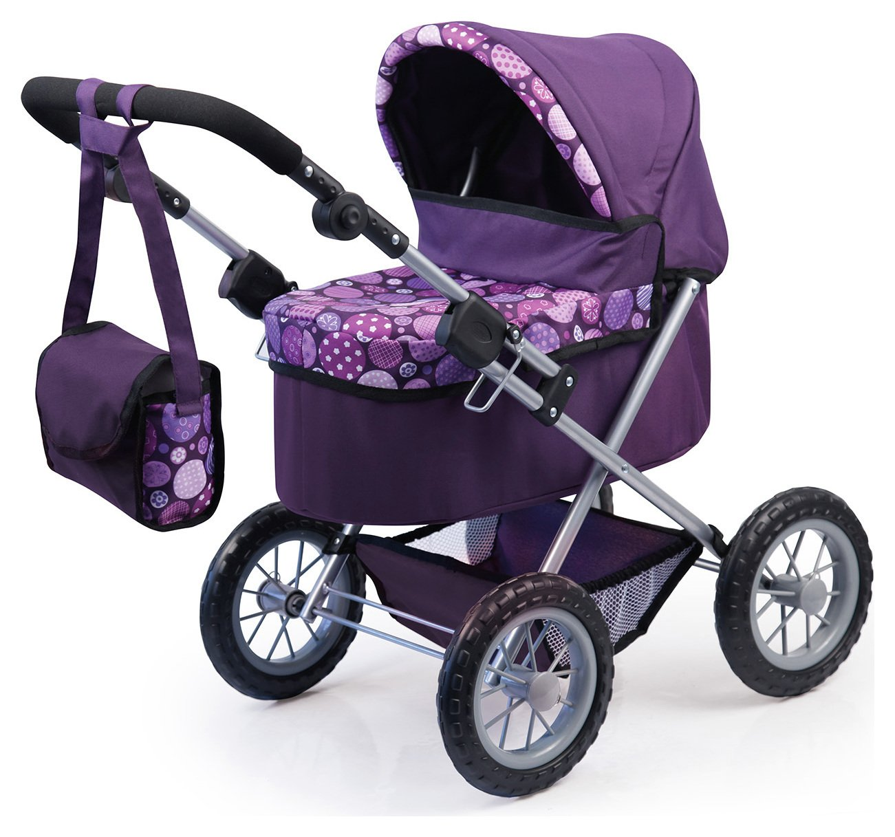 bayer-dolls-pram-trendy-purple-patterned