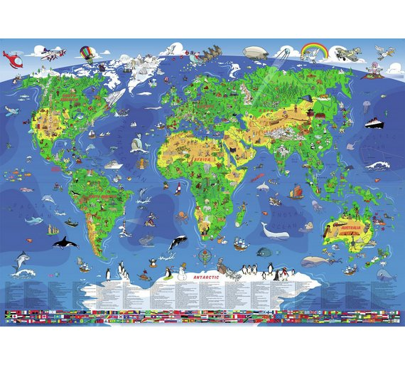 Buy wenschow childrens illustrated world wall map discovery and click to zoom gumiabroncs Choice Image