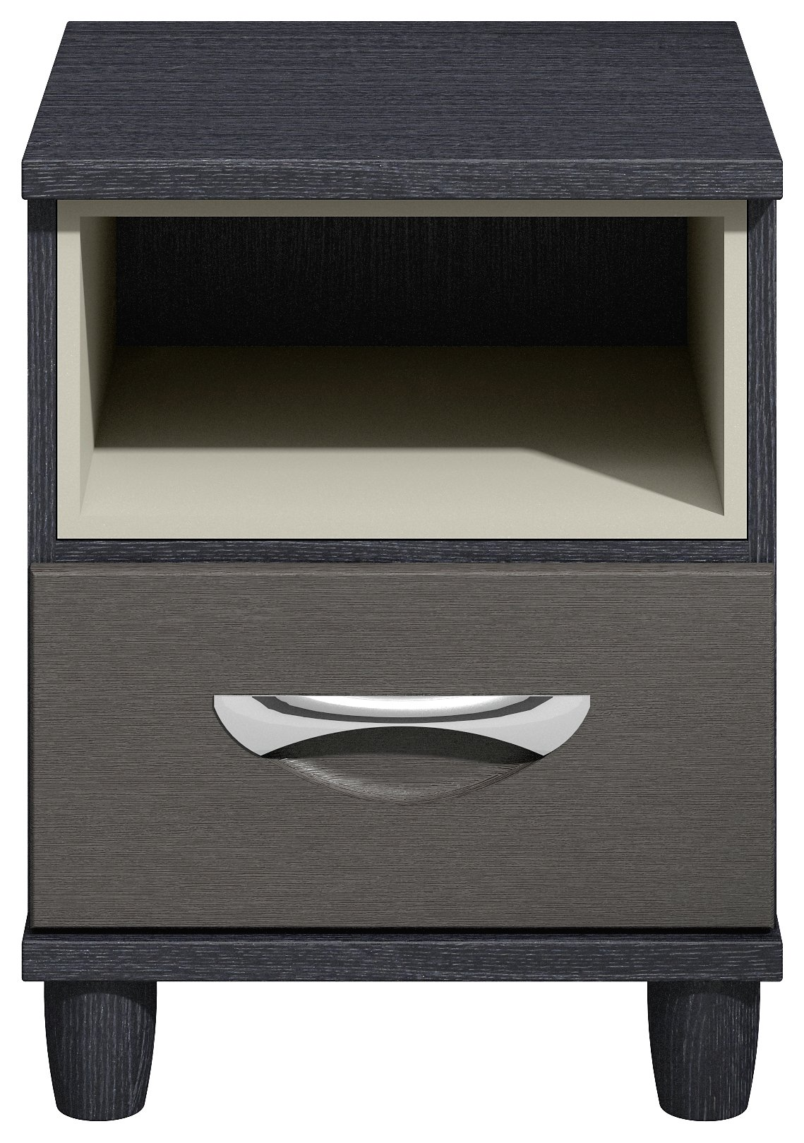 Myra 1 Drawer Bedside Chest - Black Oak Effect