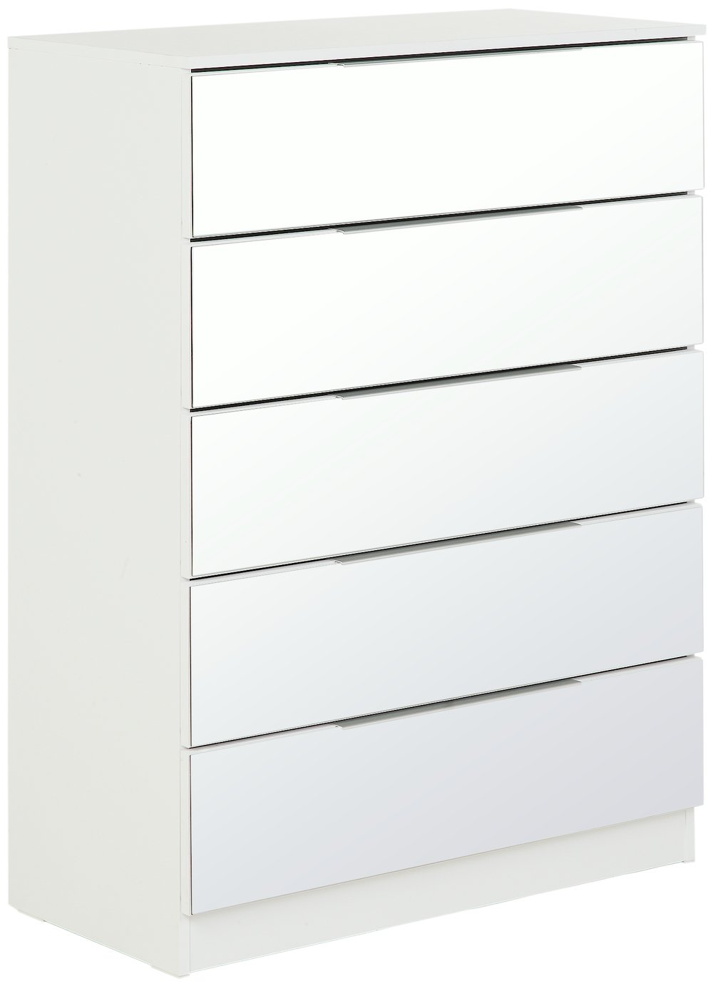 argos home sandon 5 drawer chest white and mirrored. Black Bedroom Furniture Sets. Home Design Ideas