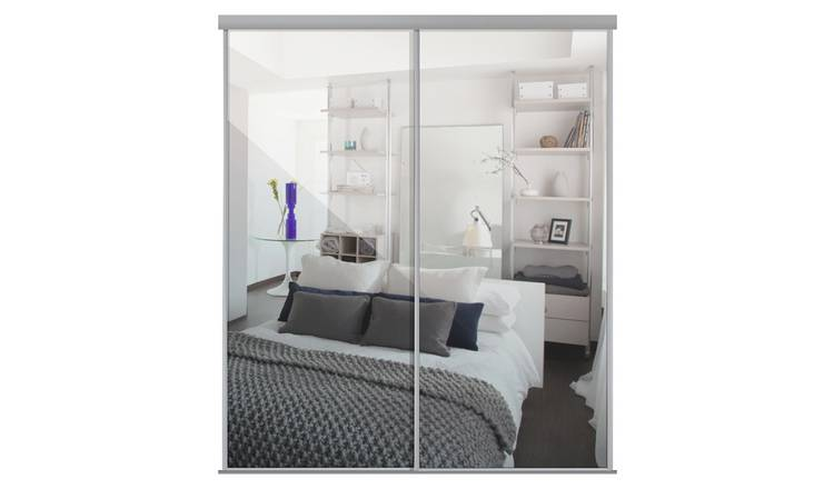 Sliding Doors and track W1793 Silver Frame Mirror