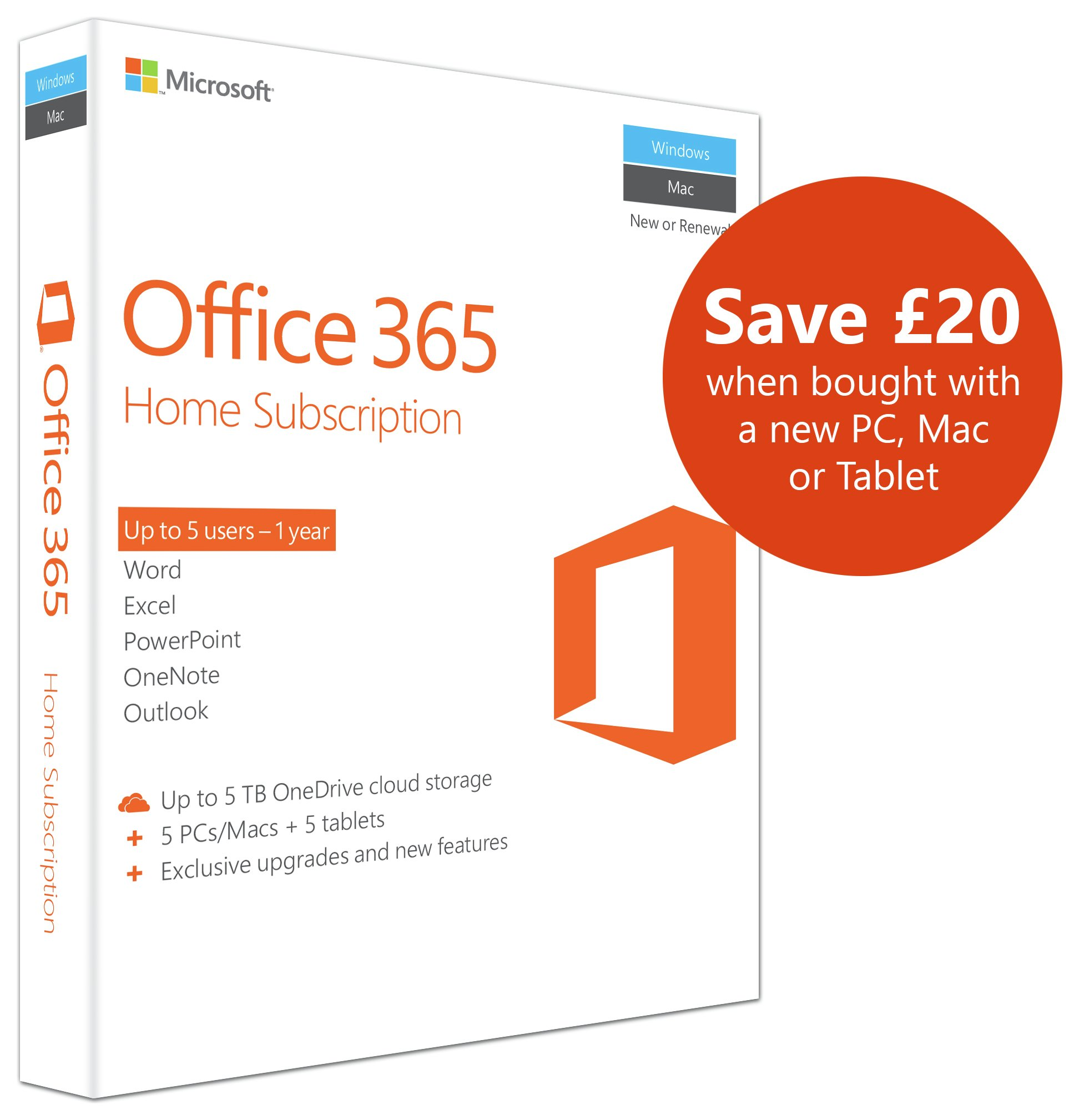 buy microsoft office 365 1 year 5 user home at argos.co.uk - your