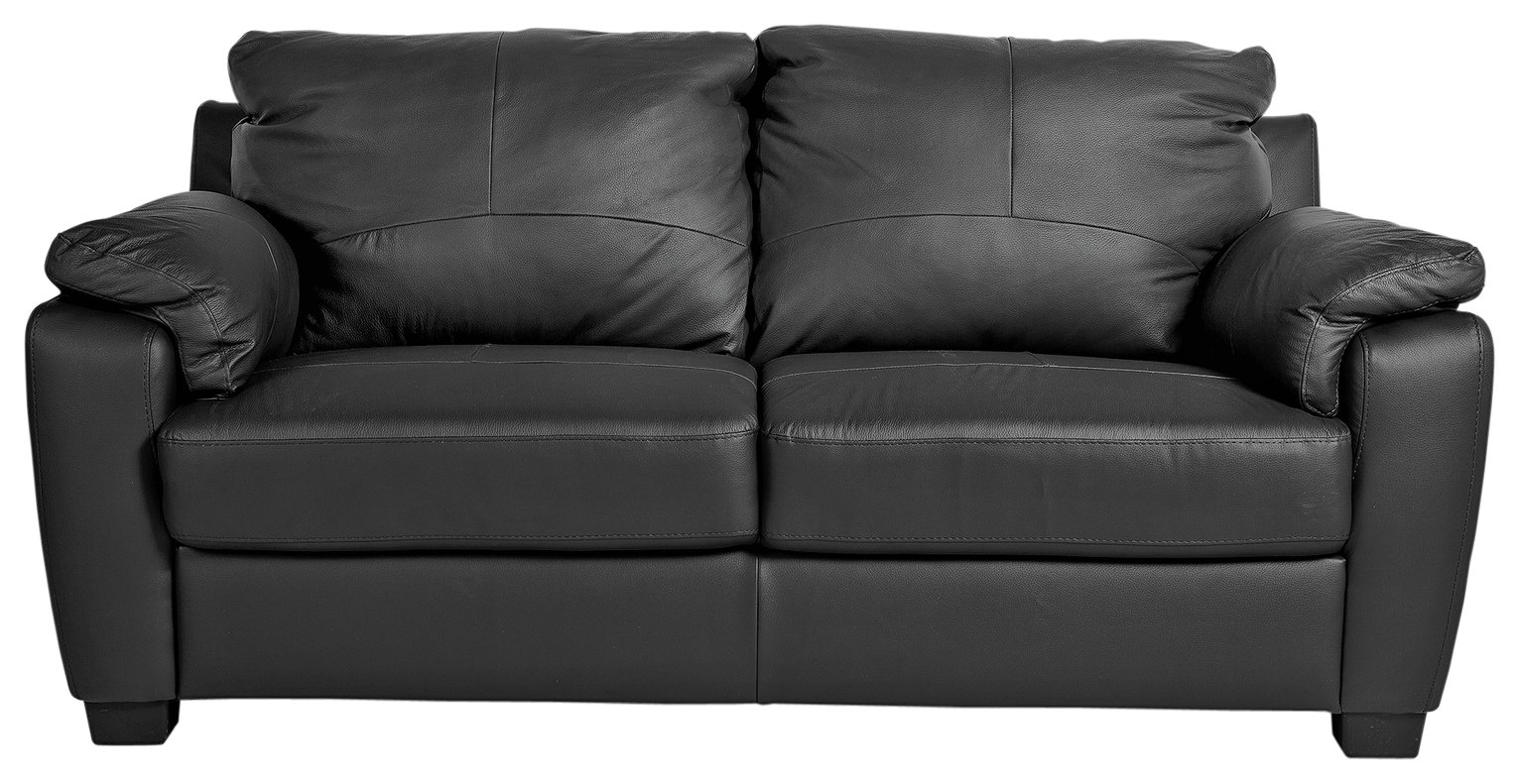 HOME - Antonio 2 Seater - Leather/Leather Effect Sofa - Black