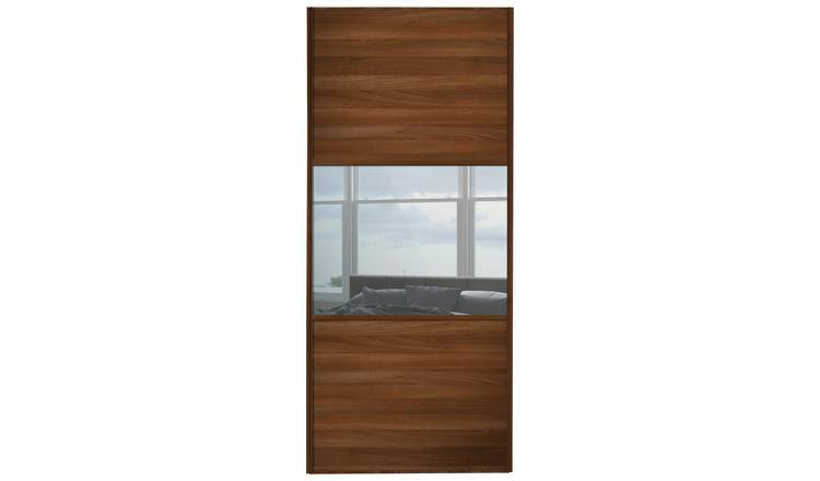 Sliding Wardrobe Door W914mm 3 Panel Walnut & Mirror