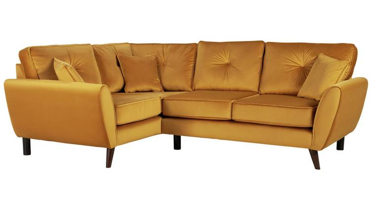 Argos Home Isla Left Corner Velvet Sofa - Gold