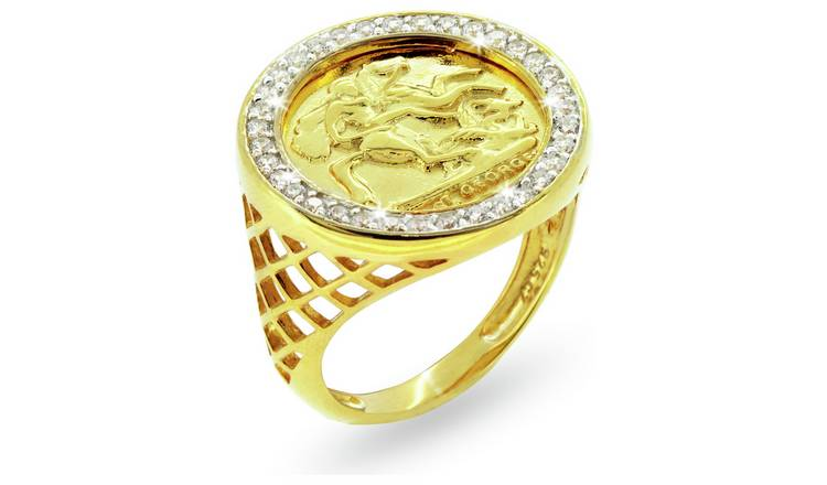 Revere Mens 9ct Gold Plated Sterling Silver Medallion Ring-Y