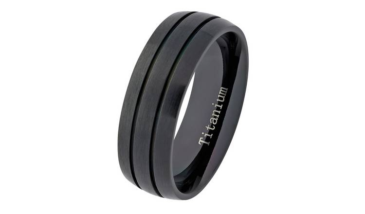 Revere Mens Titanium Black Ring - X