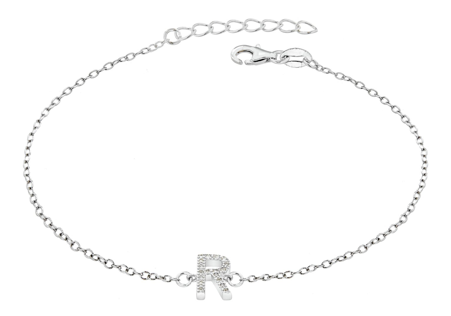Sterling Silver Cubic Zirconia Initial Bracelet - R