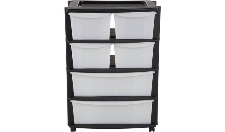 Argos Home 6 Drawer Plastic Wide Tower Storage Unit - Black