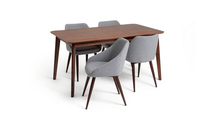 Habitat Skandi Walnut Veneer Dining Table & 4 Grey Chairs
