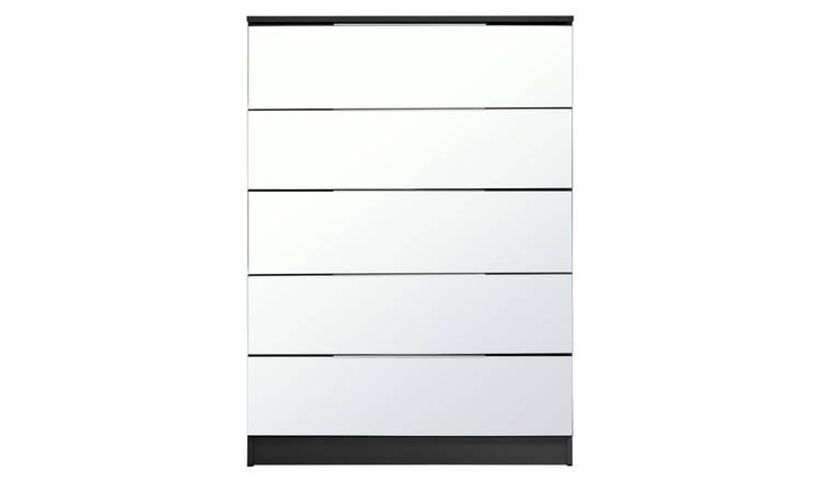 5ba4e917e8e Buy Argos Home Sandon 5 Drawer Chest - Black and Mirrored