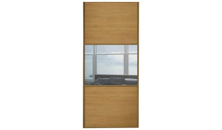 Sliding Wardrobe Door W914mm 3 Panel Oak & Mirror