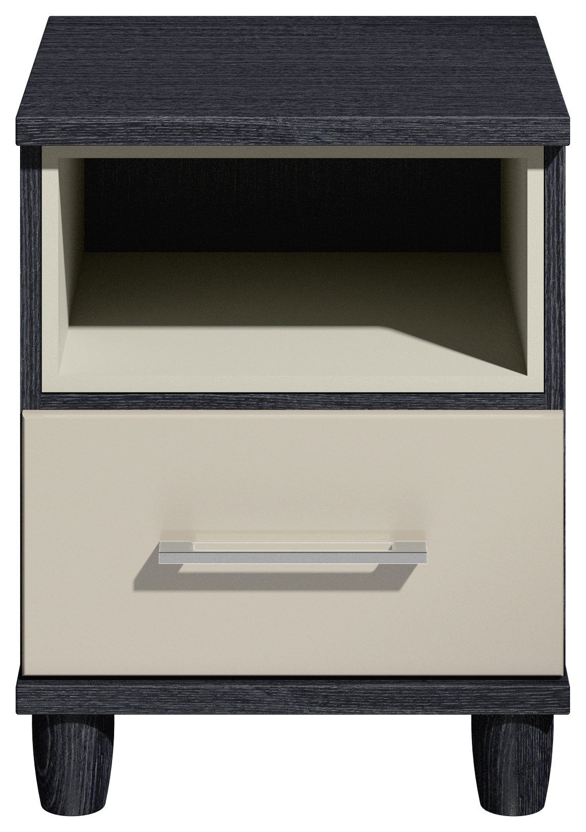 Dulcie 1 Drawer Bedside Chest - Black and Grey Gloss