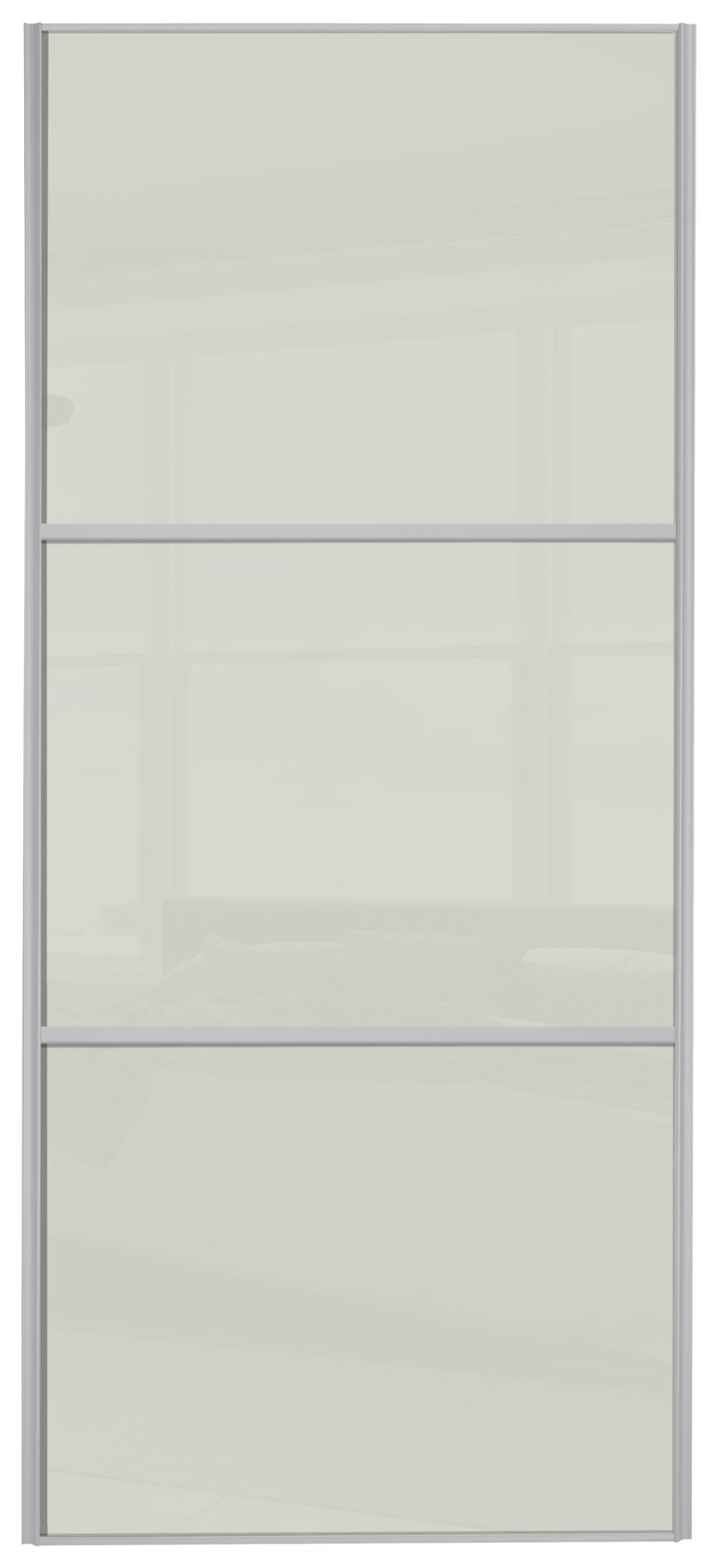 Sliding Wardrobe Door W762mm 3 Panel Soft White Glass review