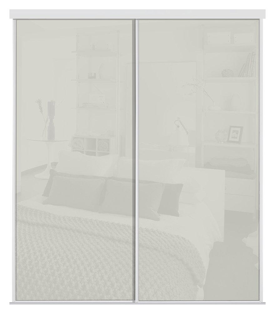 Sliding Wardrobe Door Kit W1803mm Arctic White Glass at Argos review