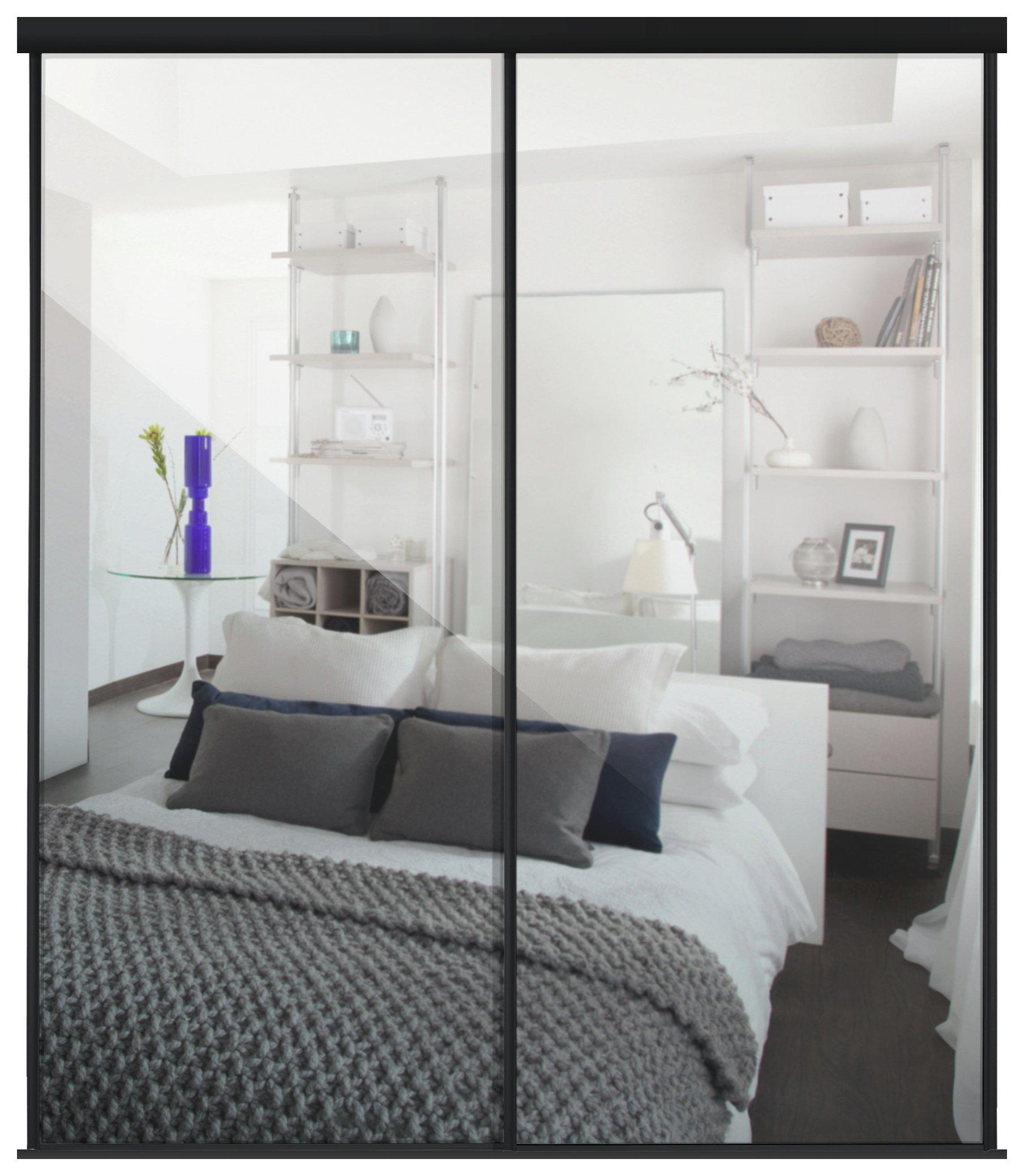 Sliding Wardrobe Door Kit W1498mm Black Frame Mirror. at Argos review