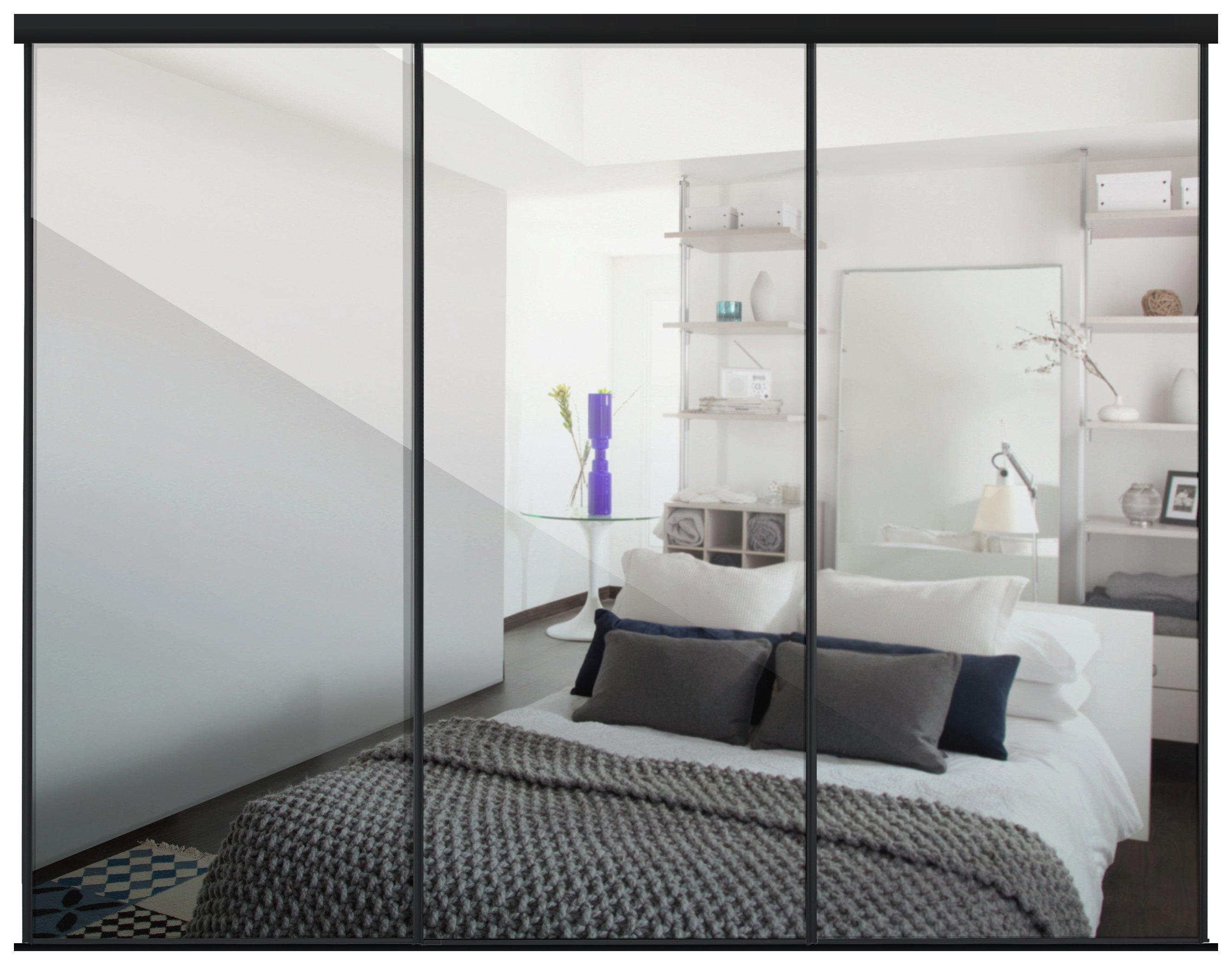 mirror wardrobe. sliding wardrobe door kit w2235mm black frame mirror