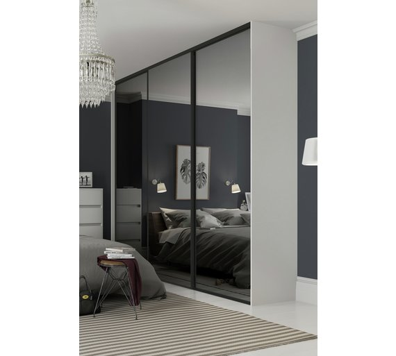Sliding Wardrobe Door Kit W2235mm Black Frame Mirror