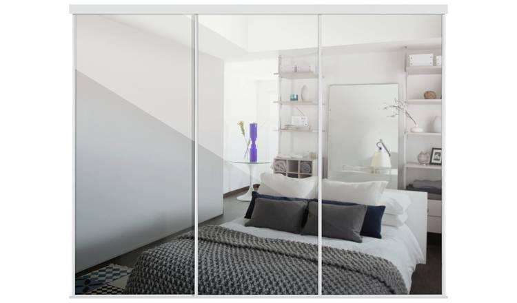 Buy Sliding Doors And Track W2672 White Frame Mirror Sliding Wardrobes Argos