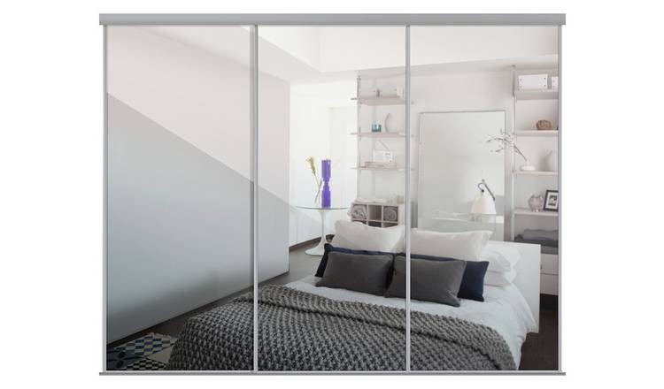 Sliding Doors and track W2672 Silver Frame Mirror
