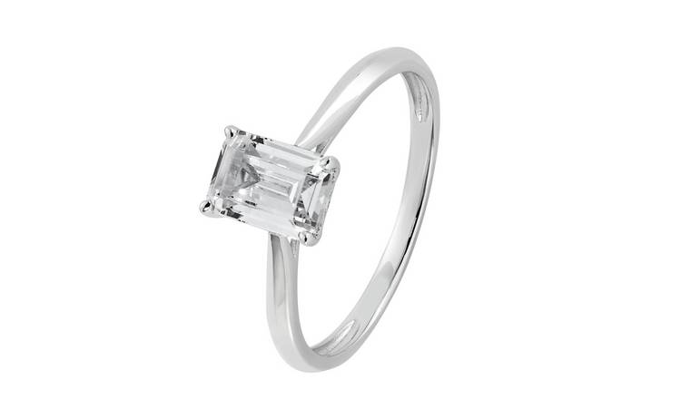 Revere 9ct White Gold Emerald Cut Solitaire Ring - Q