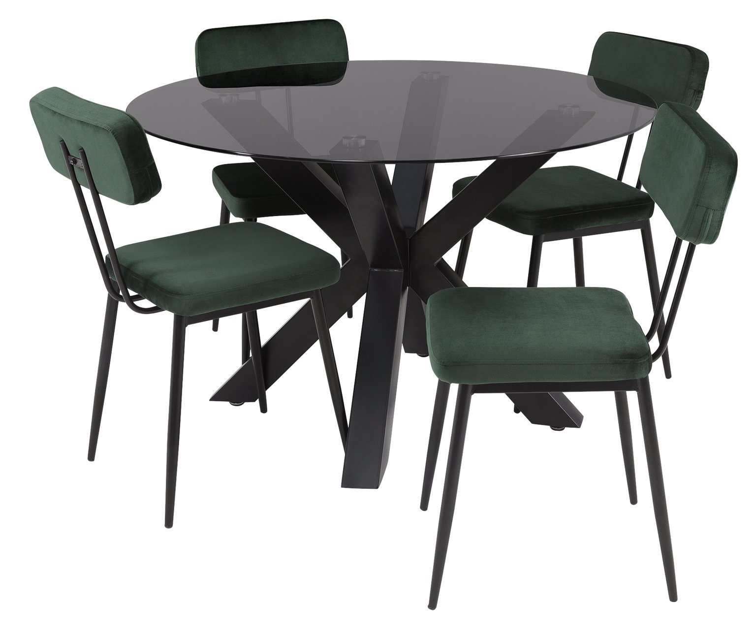 Serene 160cm Smoked Glass Table With 4 Chairs Cream
